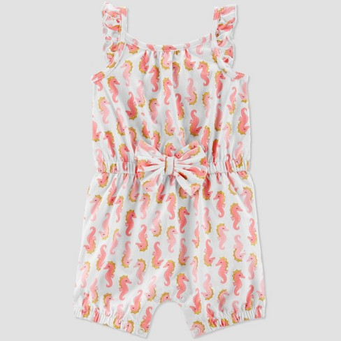 5dfdfc3b6 Baby Girls' Seahorse Print One Piece Romper - Just One You® made by carter's  White/Pink