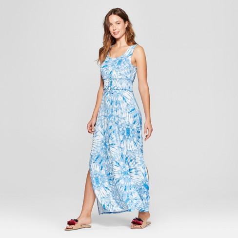 Women's Corset Waist Tie Dye Maxi Dress - Spenser Jeremy - Blue - image 1 of 2