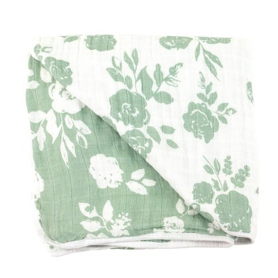Bebe au Lait Muslin Snuggle Blanket Vintage Floral - Modern