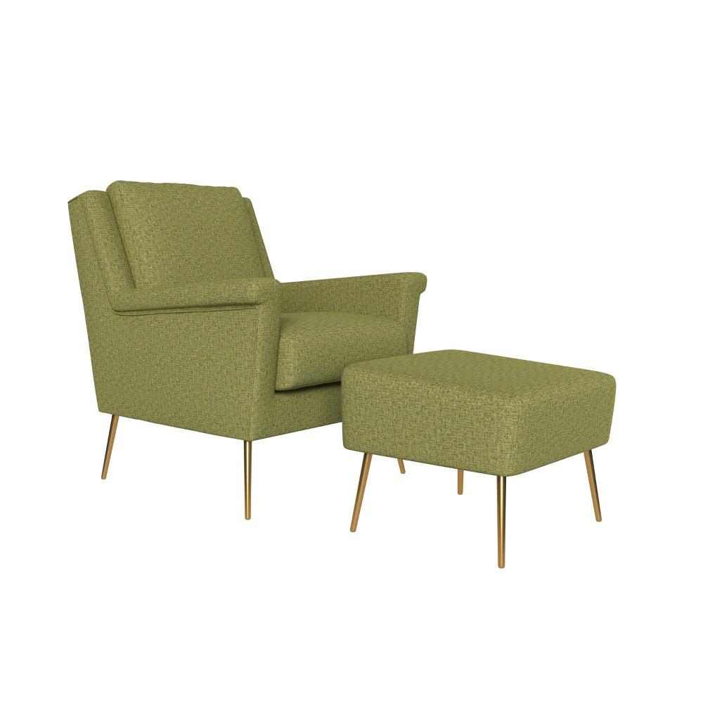 Boston Chair And Ottoman Tweed Apple Green Handy Living