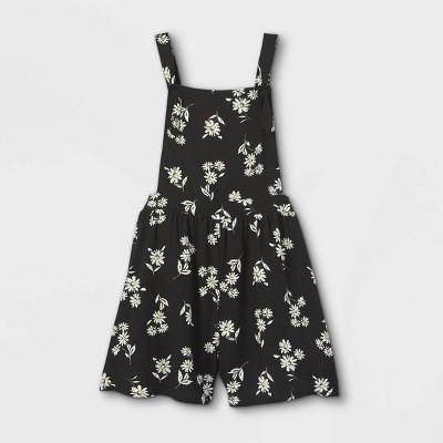 Girls' Floral Woven Shortalls - art class™ Black