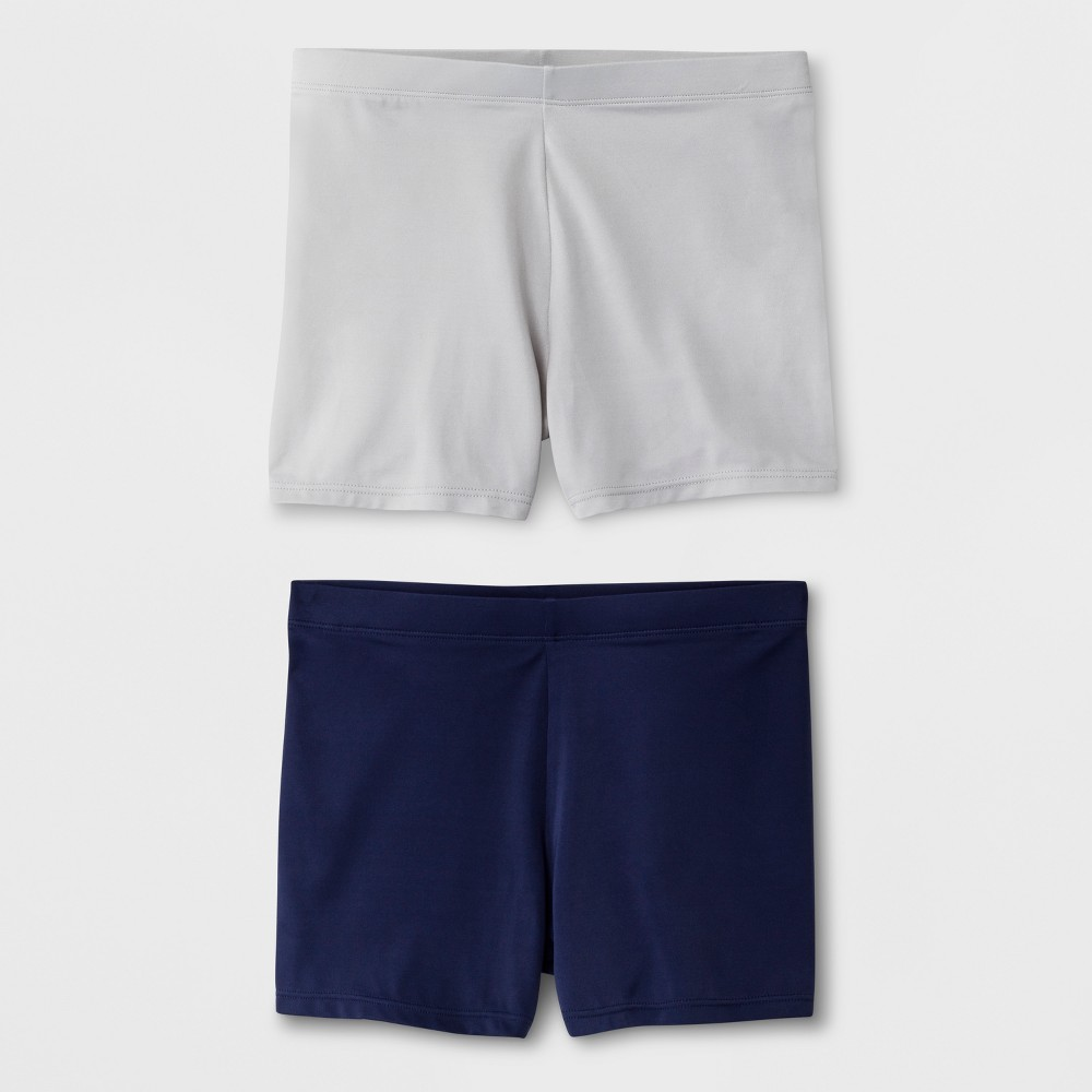 Girls' 2pk Boy Shorts - Cat & Jack Gray/Navy S