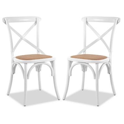 Set of 2 Donovan Mid Century Crossback Chair White - Poly & Bark