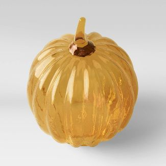 "9.75"" x 8"" Decorative Glass Seeded Pumpkin Figurine Yellow - Threshold™"
