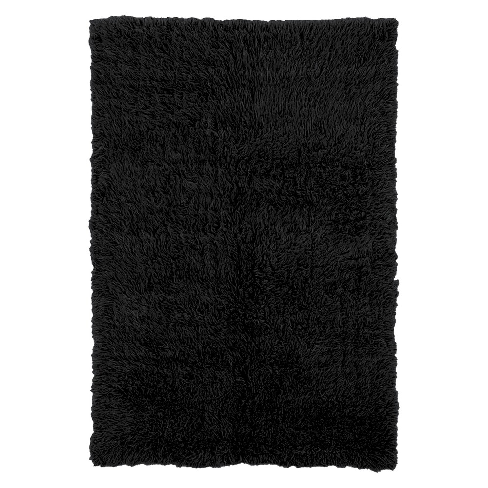 Image of 100% New Zealand Wool Flokati Accent Rug - Black (2'X6')