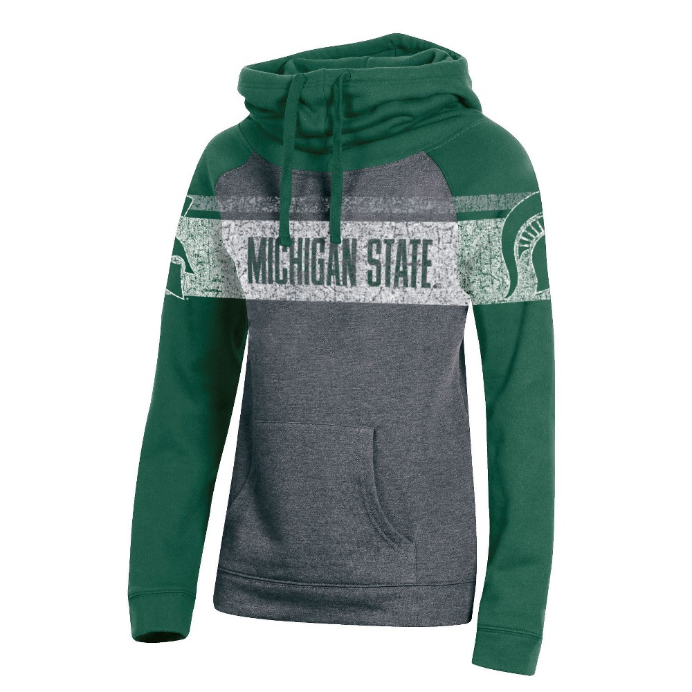 Michigan State Spartans Women's Cowl Neck Hoodie - L, Multicolored