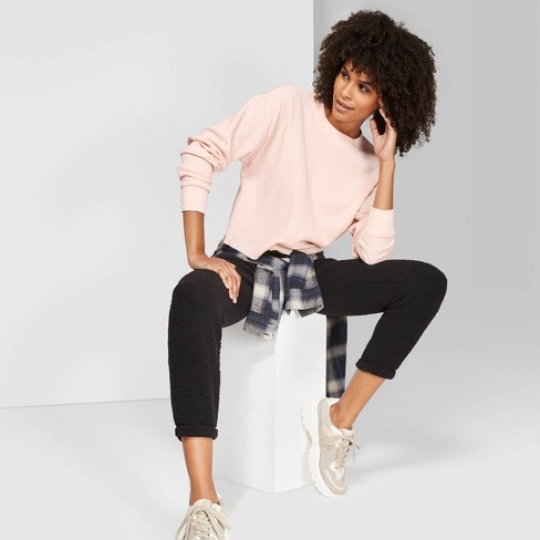 Women's Long Sleeve Boxy Thermal T-Shirt - Wild Fable™ Peach - image 1 of 3
