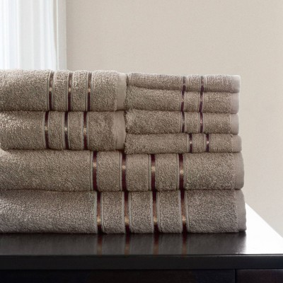 8pc Plush Cotton Bath Towel Set Taupe - Yorkshire Home