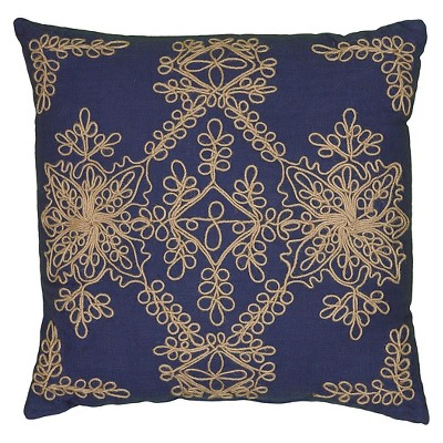Navy Applique Throw Pillow Needlework Motif (18 x18 )- Rizzy Home