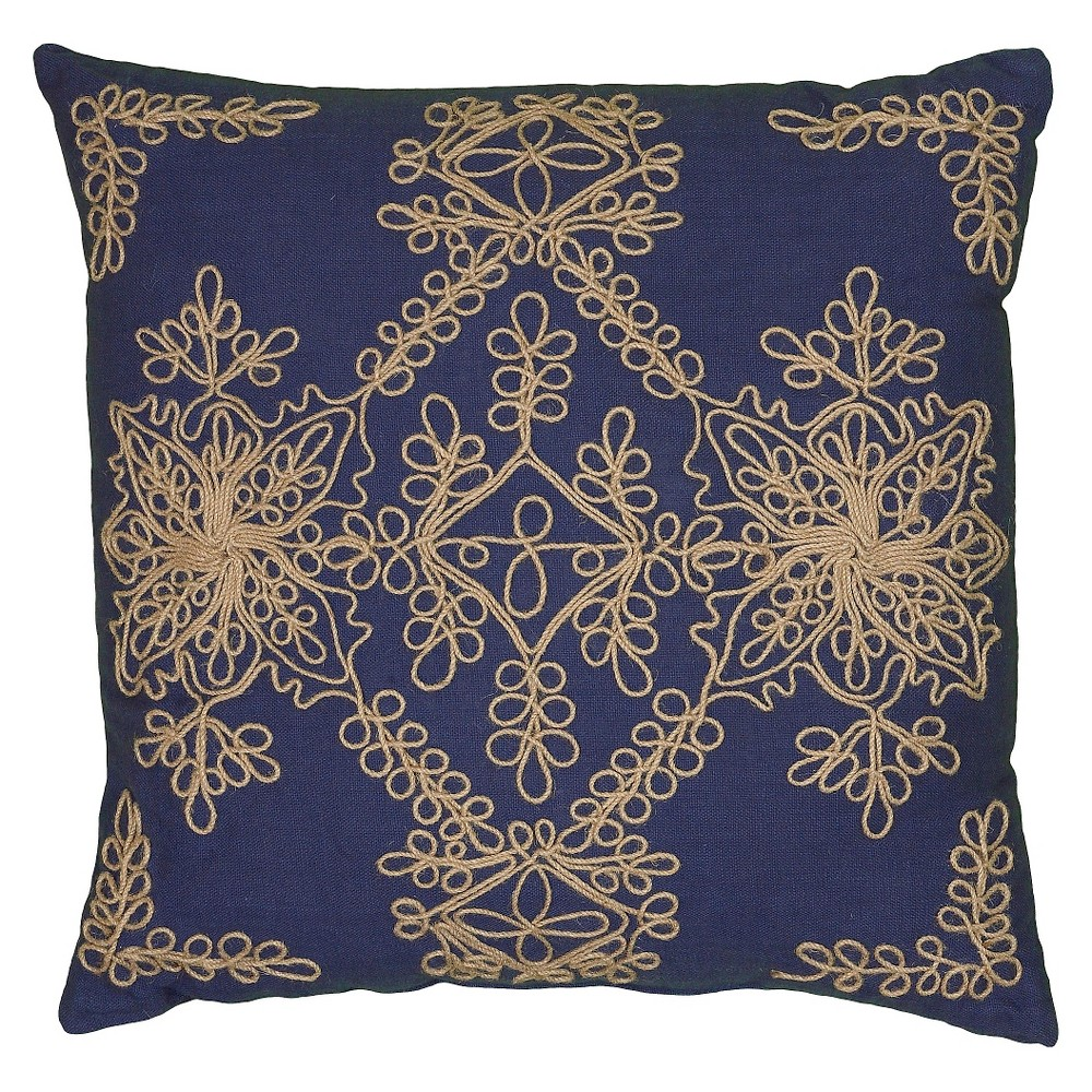 "Image of ""18""""x18"""" Applique Throw Pillow Needlework Motif Navy - Rizzy Home"""