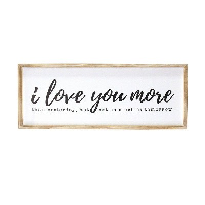 "32"" x 12"" I love you more Oversized Wall Art Natural/White - Stratton Home Décor"