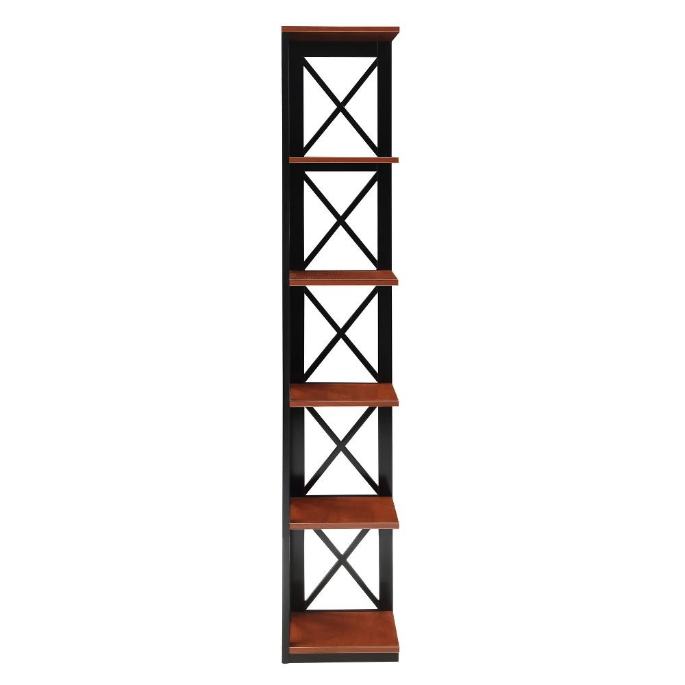 Oxford 5 Tier Corner Bookcase Cherry Brown/Black - Johar Furniture