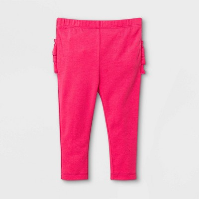 Baby Girls' Ruffle Bum Leggings - Cat & Jack™ Dark Pink 0-3M