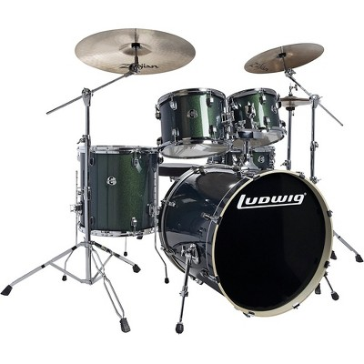 "Ludwig Element Evolution 5-piece Drum Set with 22 in. Bass Drum and Zildjian ""I"" Series Cymbals Emerald Sparkle"