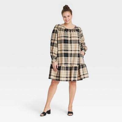 Women's Plus Size Long Sleeve Woven Dress - Ava & Viv™