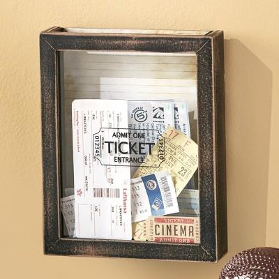 Lakeside Memento Ticket Box Wall Hanging Holder - Framed Keepsake Decoration