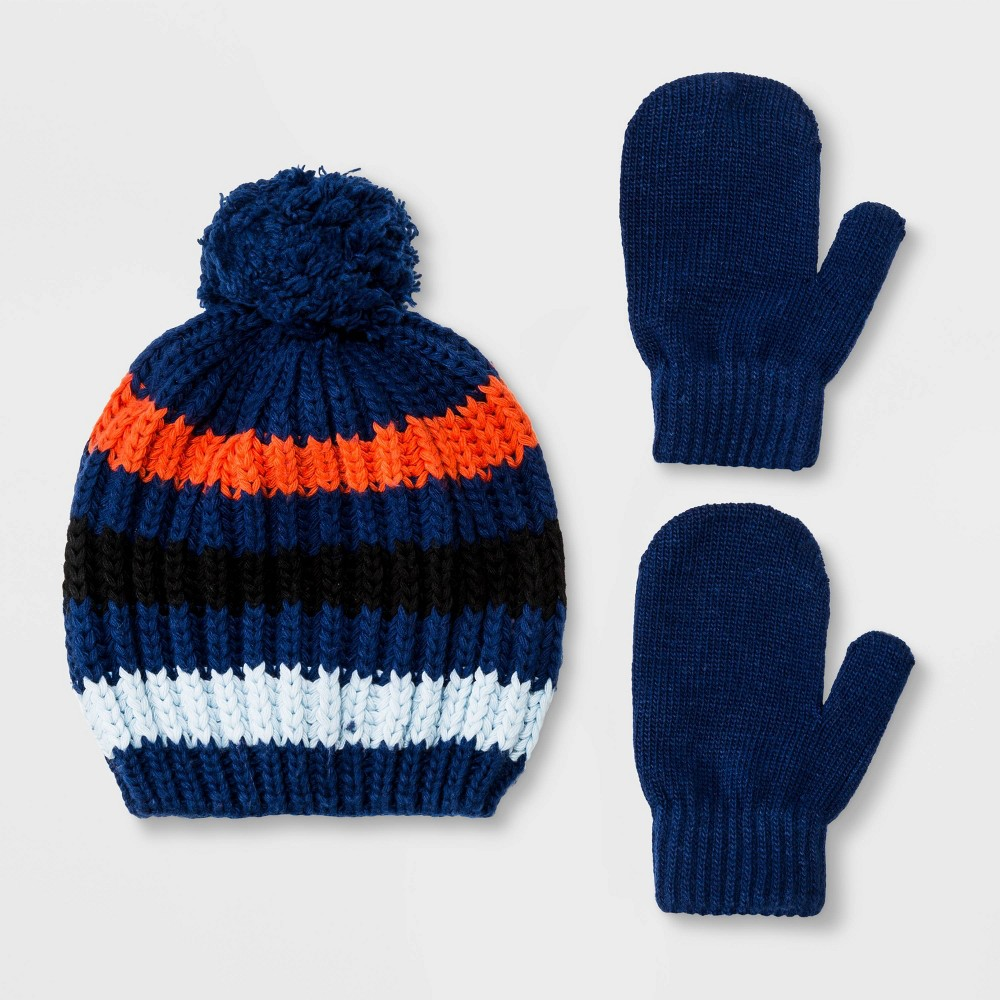 Image of Baby Boys' Striped Knit Pom Beanie and Mittens - Cat & Jack Blue 12-24M, Boy's