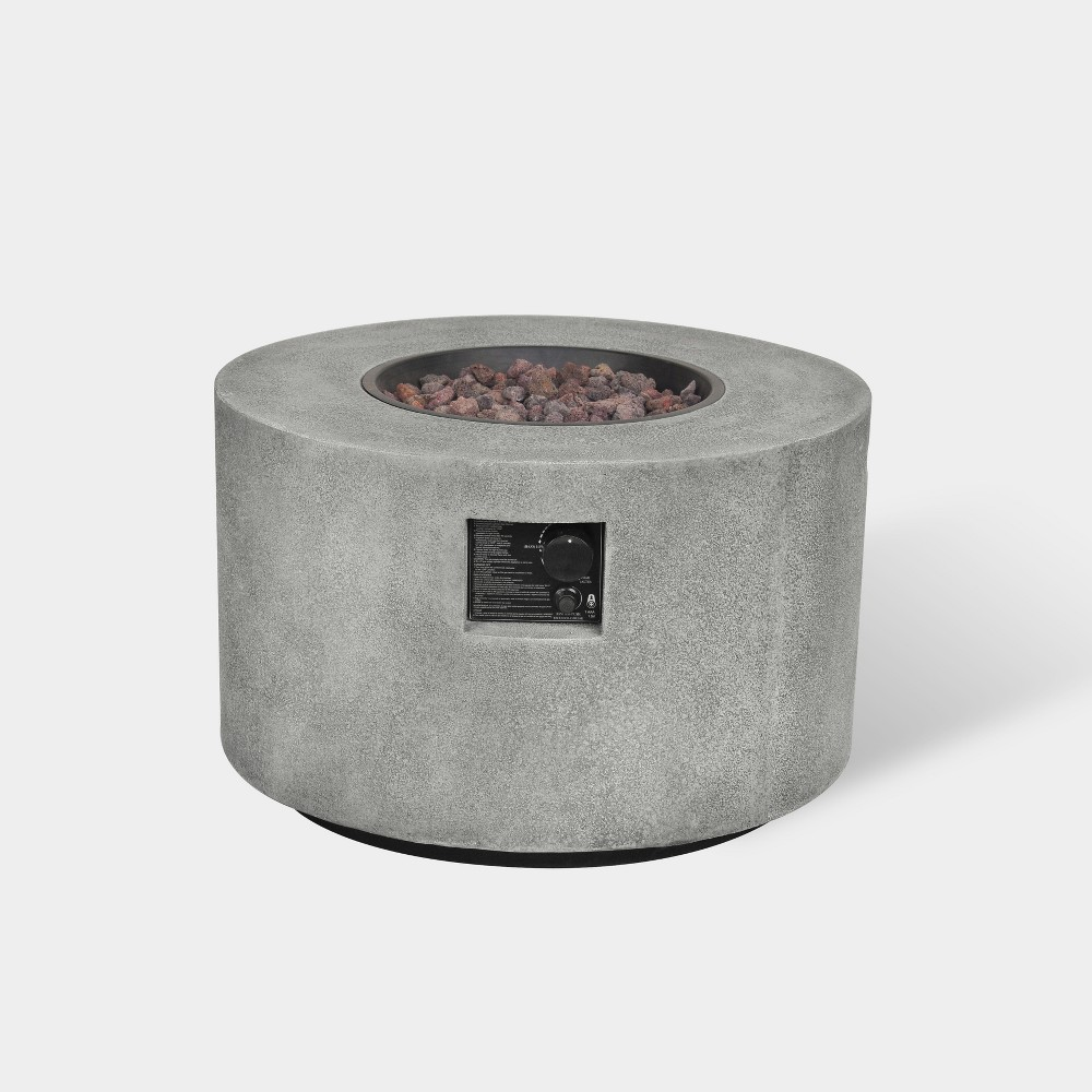 """Image of """"Argent 28"""""""" Round Cement Fire Table - Gray - Bond"""""""