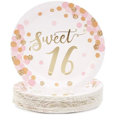 Blue Panda Sparkle and Bash Sweet 16 Party Disposable Paper Plates, (48 Pack) Rose Gold, 9 Inches