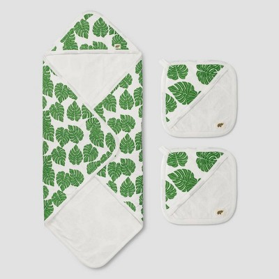 Layette by Monica + Andy Baby 3pc Under the Palms Bath Towel Set - Green