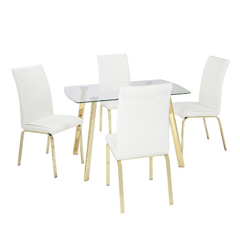 Uptown 5pc Dining Set White Gl Gold Lateral