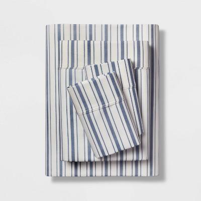 Full 400 Thread Count Striped Performance Sheet Set Blue/White - Threshold™