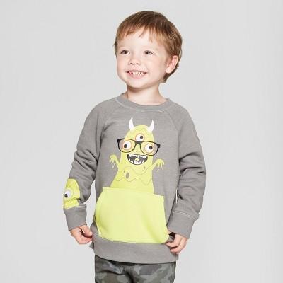 Toddler Boys' Slime Monster with Googly Eyes Sweatshirt - Cat & Jack™ Gray 12M
