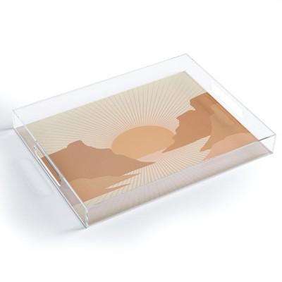 Iveta Abolina Valley Sunset Coral Acrylic Tray - Deny Designs