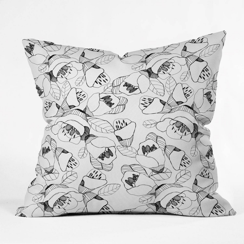 """Coupons 16""""x16"""" CayenaBlanca Lines Throw Pillow Black/White - Deny Designs"""