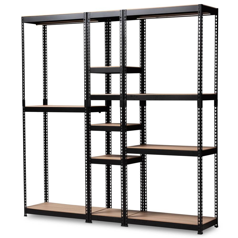 Gavin Metal 10 Shelf Closet Storage Racking Organizer Black - Baxton Studio