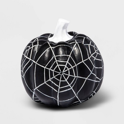 Small Etched Black with White Spider Webs Halloween Pumpkin - Hyde & EEK! Boutique™