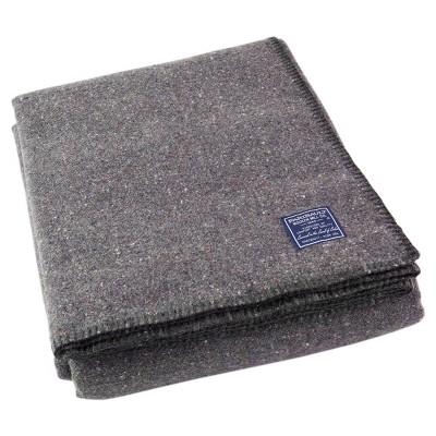 Queen Utility Solid Bed Blanket Gray - Faribault Woolen Mill