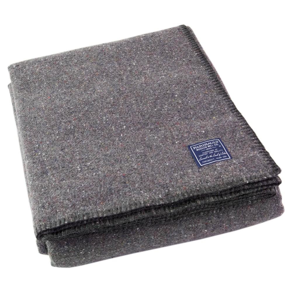 Queen Utility Solid Bed Blanket Gray Faribault Woolen Mill