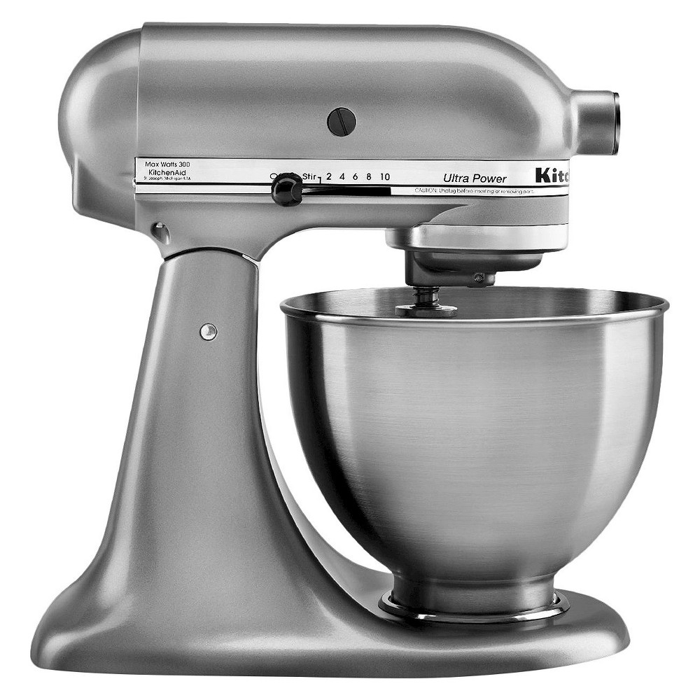 KitchenAid Ultra Power 4.5 Quart Stand Mixer Silver - KSM95 Make up to 6 dozen cookies in a single batch with the KitchenAid Ultra Power Series 4.5 Quart Tilt-Head Stand Mixer. This mixer also features 10 speeds to thoroughly mix, knead and whip ingredients quickly and easily. For even more versatility, use the power hub to turn your stand mixer into a culinary center with over 10 optional hub powered attachments, from food grinders to pasta makers and more. Color: SIlver.