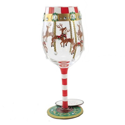 """Tabletop 9.0"""" Reindeer Carousel Stemmed Wine Glass Christmas Enesco  -  Drinkware"""