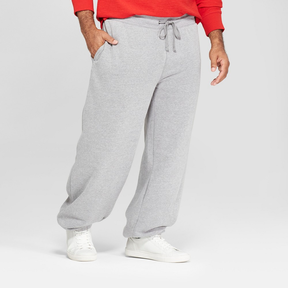 Image of Men's Tall Fleece Cinched Jogger Pants - Goodfellow & Co Gray LT