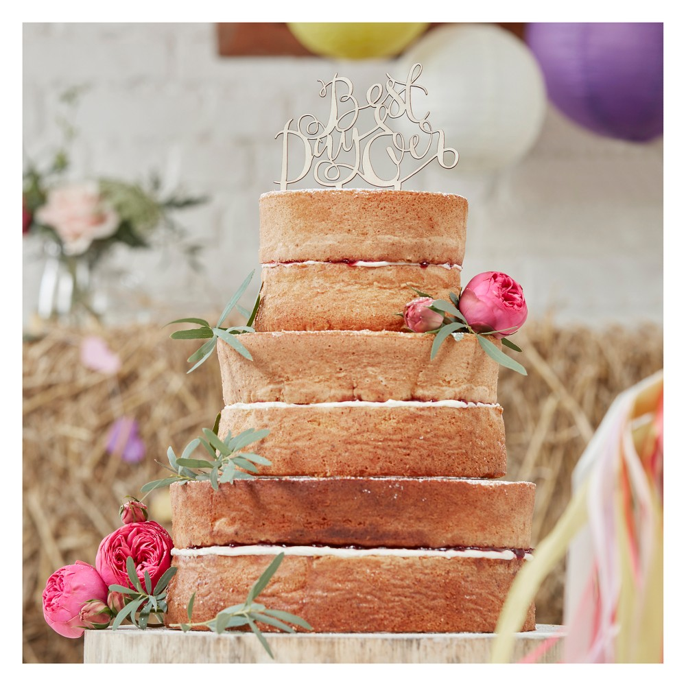 "Image of """"""Best Day Ever""""Boho Wooden Cake Topper, Brown"""