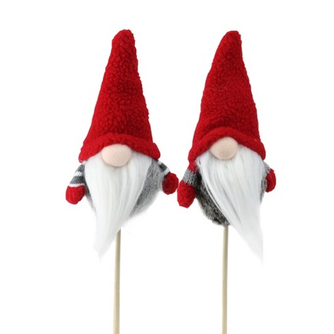 """Northlight Set of 2 Tiny Red and Gray Santa Gnomes with Faux Fur on a Stick 11.5"""" - image 1 of 3"""