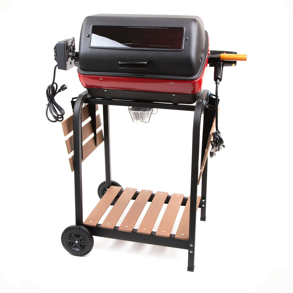 Easy Street Electric Cart Grill with Composite Wood Side Tables, Shelf and Rotisserie 9329W9.181, Black 52716143