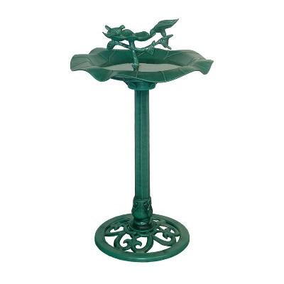 "Alpine Corporation 33"" Lotus Birdbath With Birds - Blue"
