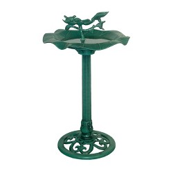 "Alpine Corporation 33"" Lotus Birdbath With Birds - Blue"