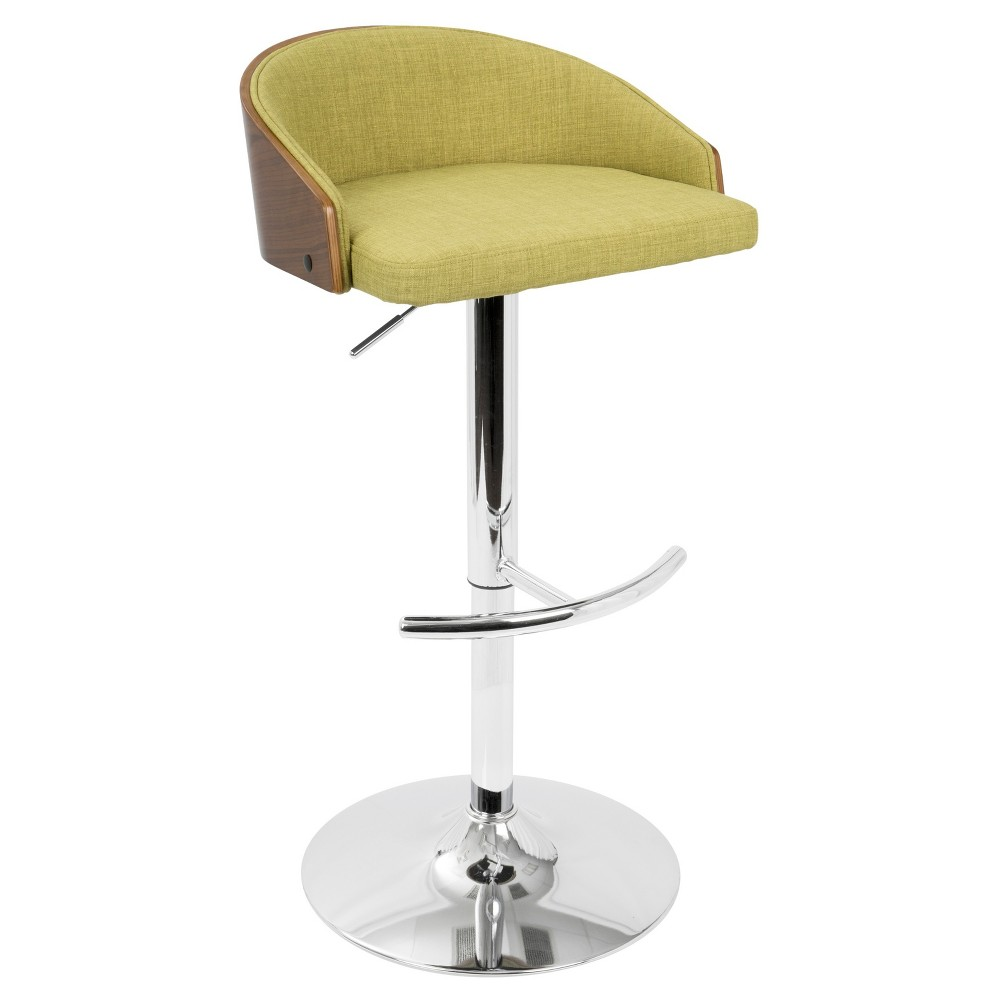 Shiraz Mid - Century Modern Adjustable Barstool - Walnut And Green - Lumisource
