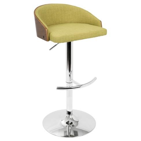 940e242ef47e Shiraz Mid - Century Modern Adjustable Barstool - Walnut And Green -  Lumisource : Target