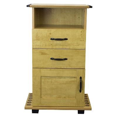 OS Home 704-AFC 2 Drawer 1 Shelf Fishing Storage and Organization Cabinet for 12 Fishing Rods, Laminated Honey Maple Finish