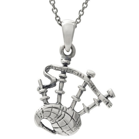 "Women's Journee Collection Bagpipe Pendant Necklace in Sterling Silver - Silver (18"") - image 1 of 2"