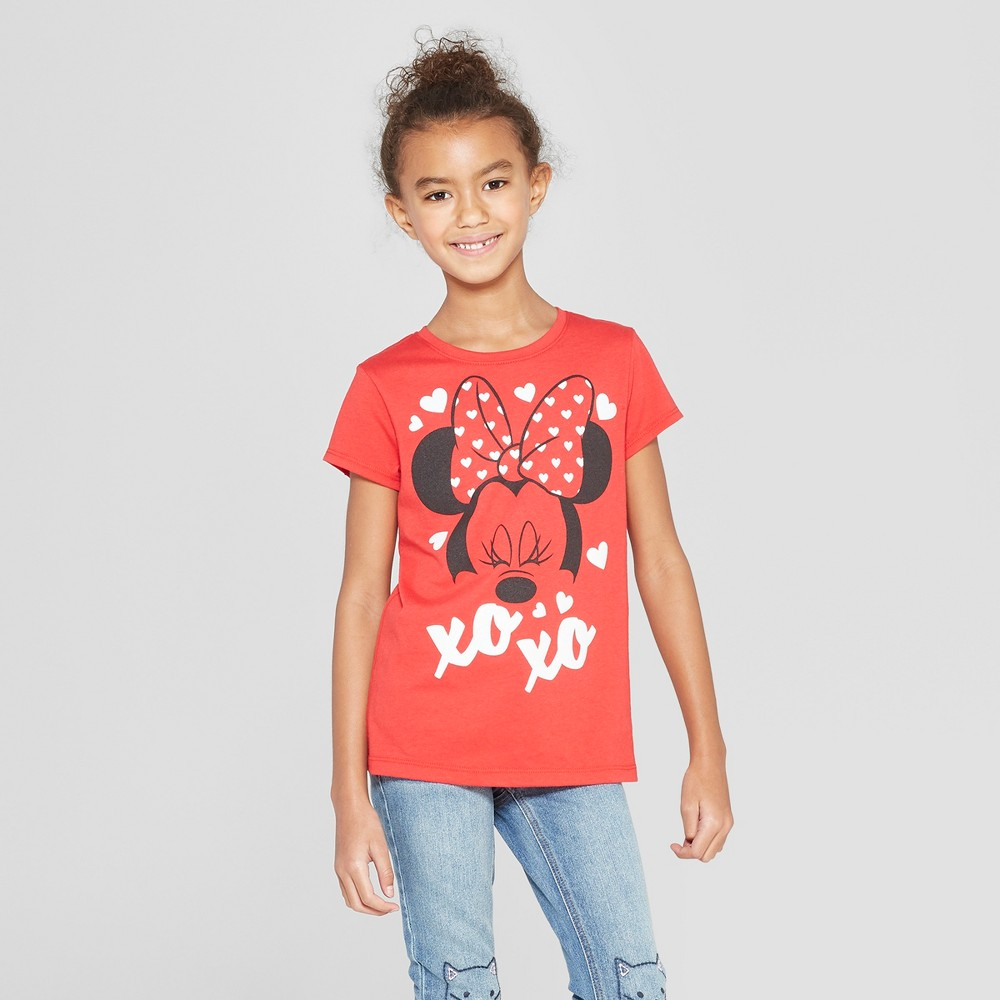 Plus Size Girls' Disney Minnie Mouse Valentine's Day Short Sleeve T-Shirt - Red L Plus