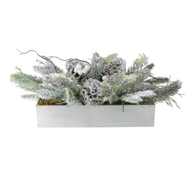 """Northlight 19.5"""" Flocked Berries, Pinecones and Foliage Filled Decorative Christmas Box"""