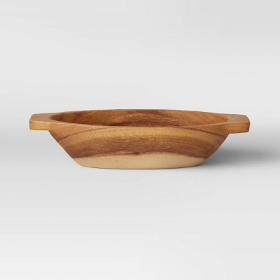 "3.5"" x 16"" Munggur Wood Bowl Tapered with Handle Natural - Threshold™"