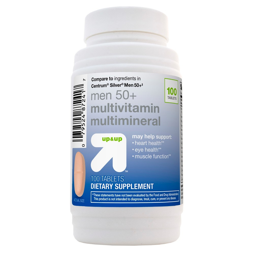 Men's 50+ Multivitamin Multimineral Dietary Supplement Tablets- 100ct - Up&Up (Compare to ingredients in Centrum Silver) up and up Multivitamin Tablets For Men Above 50 is specifically formulated to help meet the nutritional needs of men over age 50. This men's multivitamin provides key nutrients including B vitamins, antioxidants, magnesium, zinc and lutein. Gender: Male. Age Group: Adult.