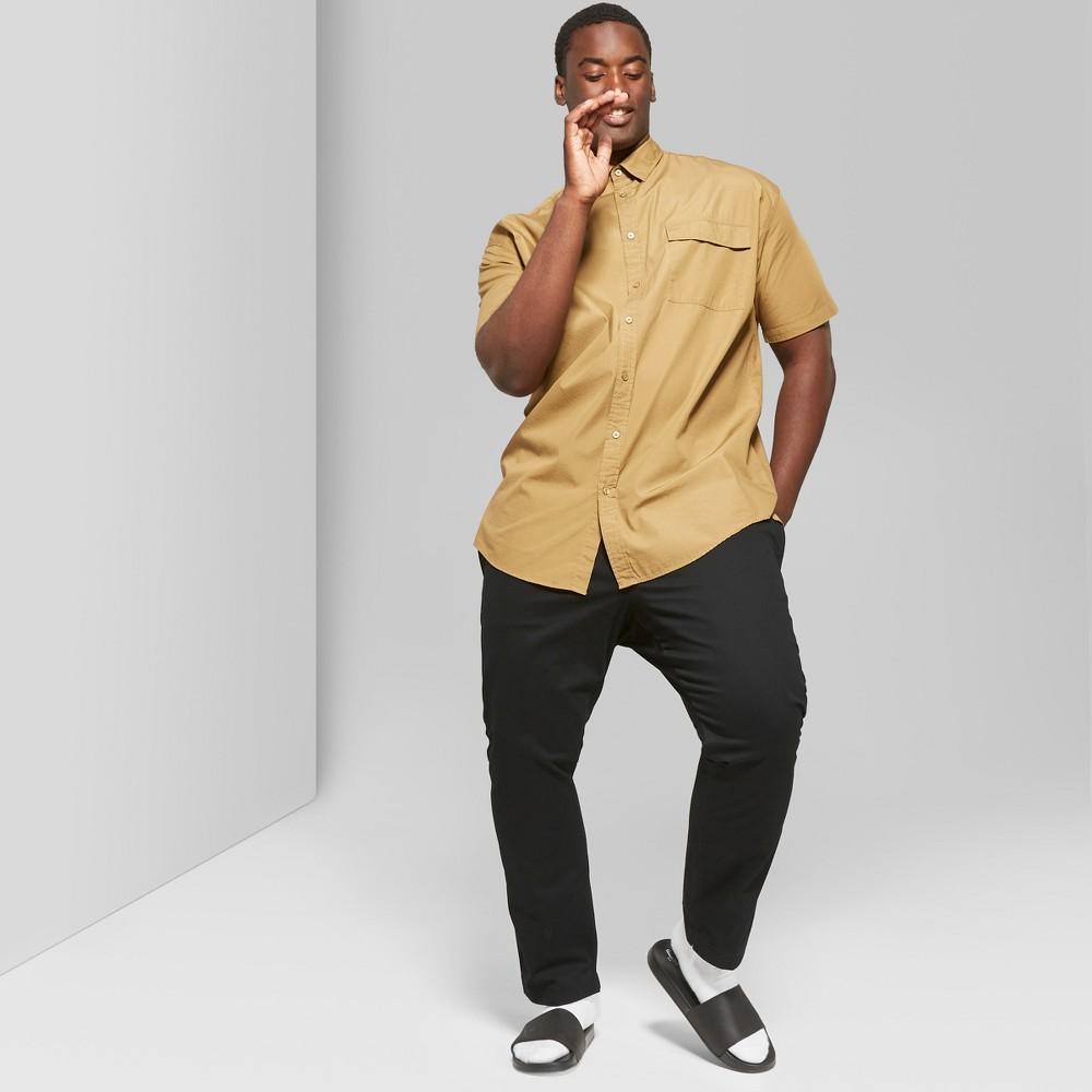 Men's Tall Short Sleeve Long Line Button-Down Shirt - Original Use Dapper Brown LT